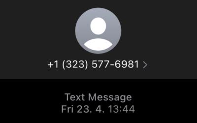 Příklad phishingového útoku v podobě SMS zprávy